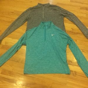 Nike Women's Running Dri Fit Tops Teal and Gray XL